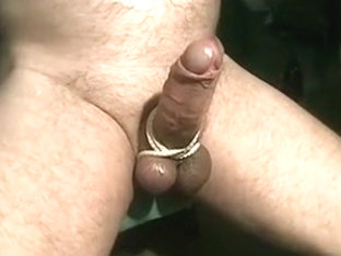 wanking with tied cock and balls