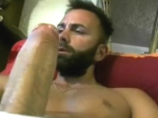 Handsome BF is relaxing at home and filming himself on webcam