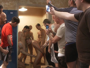 Ex-Military gets fucked in the crowded locker room