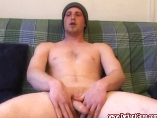 Defiant hunk jacking off