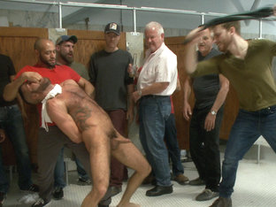 Pissed off janitor fucked in bondage by horny bathroom cruisers
