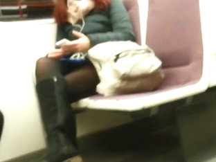 Candid sexy milf pantyhose in train 5