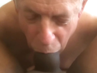 Old White DADDY,moaning , on A NICE FAT BIG BLACK COCK, & Swallowing CUM !