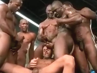 white dude gets cum on by many bbc`s