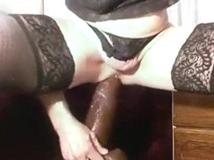 BIG BLACK fetish dildo in WHITE ANAL slut