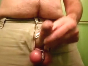Dick  balls out of pants cum shot