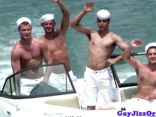 Semen loving sailor studs unloading bukkake