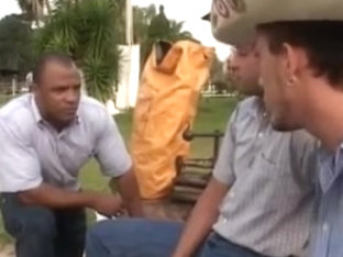 Black hunk gay fucks a cowboy in the outdoors
