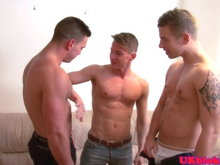 Muscular british studs spitroast young bloke