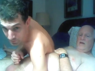 Grandpa and college girl boy have fun on cam