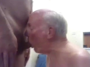 Grandpa suck and play on webcam