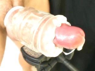 Fleshlight milks hard throbbing cock