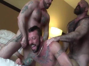 Hot threesome lads fuck raw