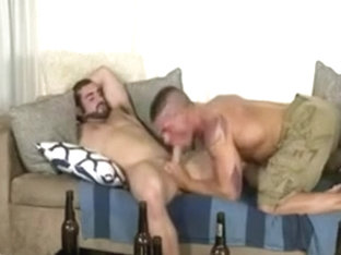 Bearded man fucks his lover on a sofa
