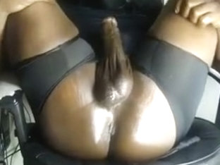 Thick Black Oily Cock jerk with ass play.(no cum)