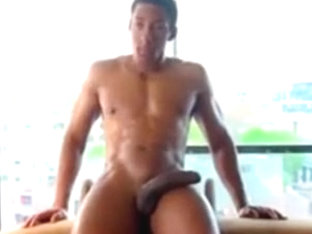 Hot Muscle Stud Jacking off His Big Black Dick BBC