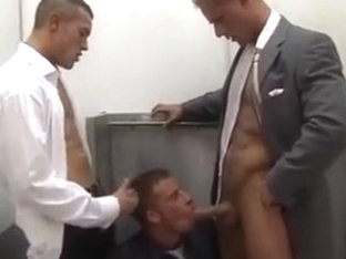 Office gay studs have a break