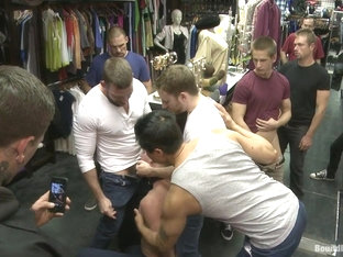 Bound in Public. Ripped hung stud gets used and abused in a clothing store