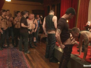 Bound in Public. Live Shoot Dirk Caber and 200 horny men at Folsom weekend party