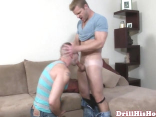 Powerful top giving throatfuck session to muscular bottom