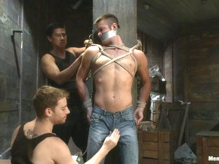 Hung stud with a giant cock relentlessly edged against his will