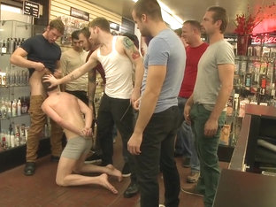 Bound in Public. Bound stud whorred out at a local sex shop