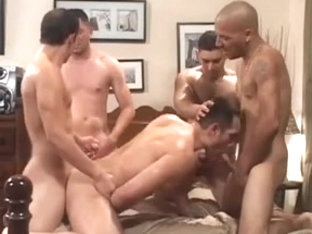 Four excited Latinos cumming inside his insatiable wazoo.