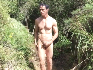 Nature dude and his and cock in the wilderness