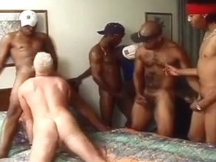 Black and white twink blowjob orgy
