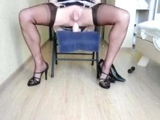 Crossdresser cum with huge toys anal
