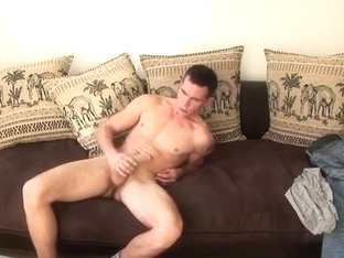 Solo stroking a big cock