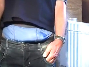 pissing tight pissed jeans, bulging, smoking. lycra boxers