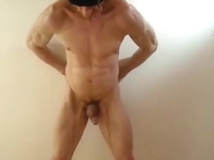 Gay muscle man poses and teases with his body