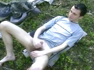 Slim Young Man In The Woods