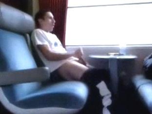 Rubbing my cock in a public train