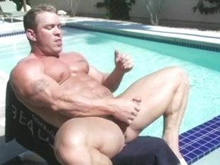 Hot gay bodybuilder masturbates with sex toys