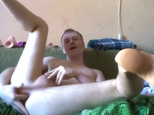 Ass fingering and fucking by glass dildo