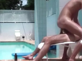 Poolside sex with hot guys
