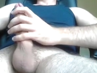 Juicy guy is jerking in his room and filming himself on camera