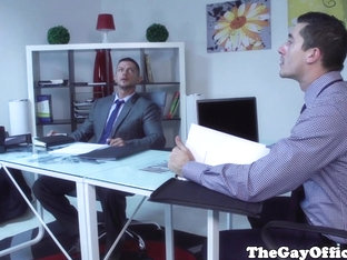 Muscular office hunk eats and fucks ass