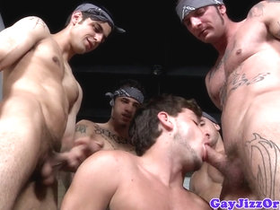 Ty Tucker sucking cocks at a gang orgy