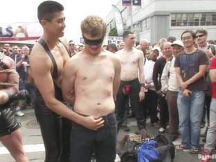 Bound in Public. Noah Brooks is dragged through the streets bound beaten and pissed o