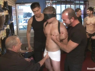 Bound in Public. Use and humiliate a blond stud at Stompers Boots