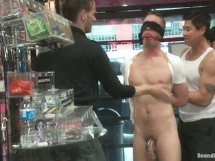 Bound in Public. A stud wants to be a whore in a sex shop
