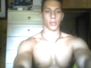 Italian handsome fitness boy big thick cock on cam