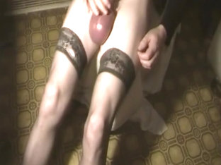 Big balls, pumped cock, tranny, stockings 2