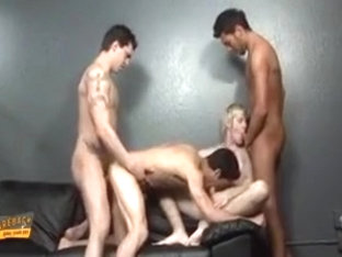 Nasty guy strokes his dick and gives a head