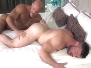 Two sexy muscle daddies flip fuck each other hard