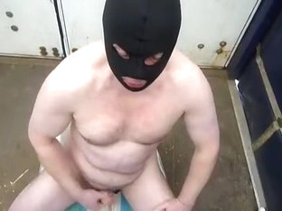 Face fuck, cum and piss in back of lorry
