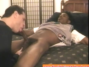 DILF loves sucking bbc on young straight ebony hunk